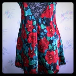 Victoria's Secret Vintage Chemise Red Green Floral